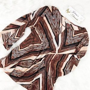 Dana Buchman 3/4 Sleeve Geometric Blouse
